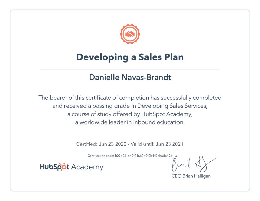 Danielle Navas-Brandt Developing a salesplan HubSpot certificate