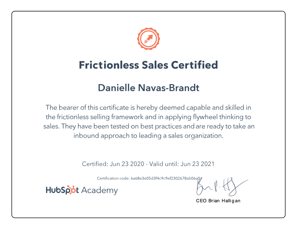 Danielle Navas-Brandt Frictionless Sales Certified HubSpot